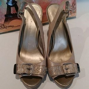 Bandolino Shoes - Bandolino Taupe and Gold Slingback Pumps Size 8.5